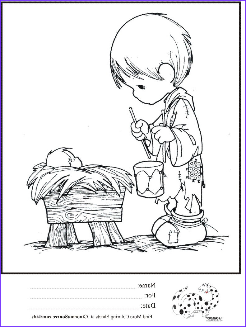 kids coloring page precious moments little drummer boy baby jesus coloring sheet