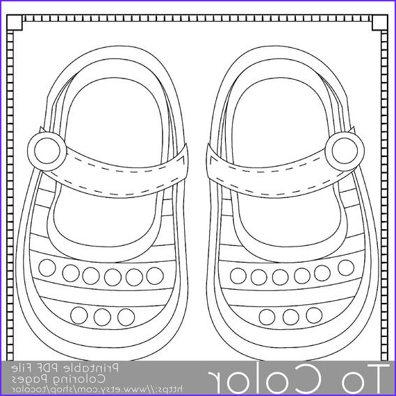Baby Shower Coloring Luxury Photos Items Similar to Baby Shoes Printable Coloring Pages for