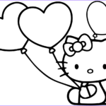 Balloon Coloring Pages New Images Hello Kitty With Heart Balloons Coloring Page