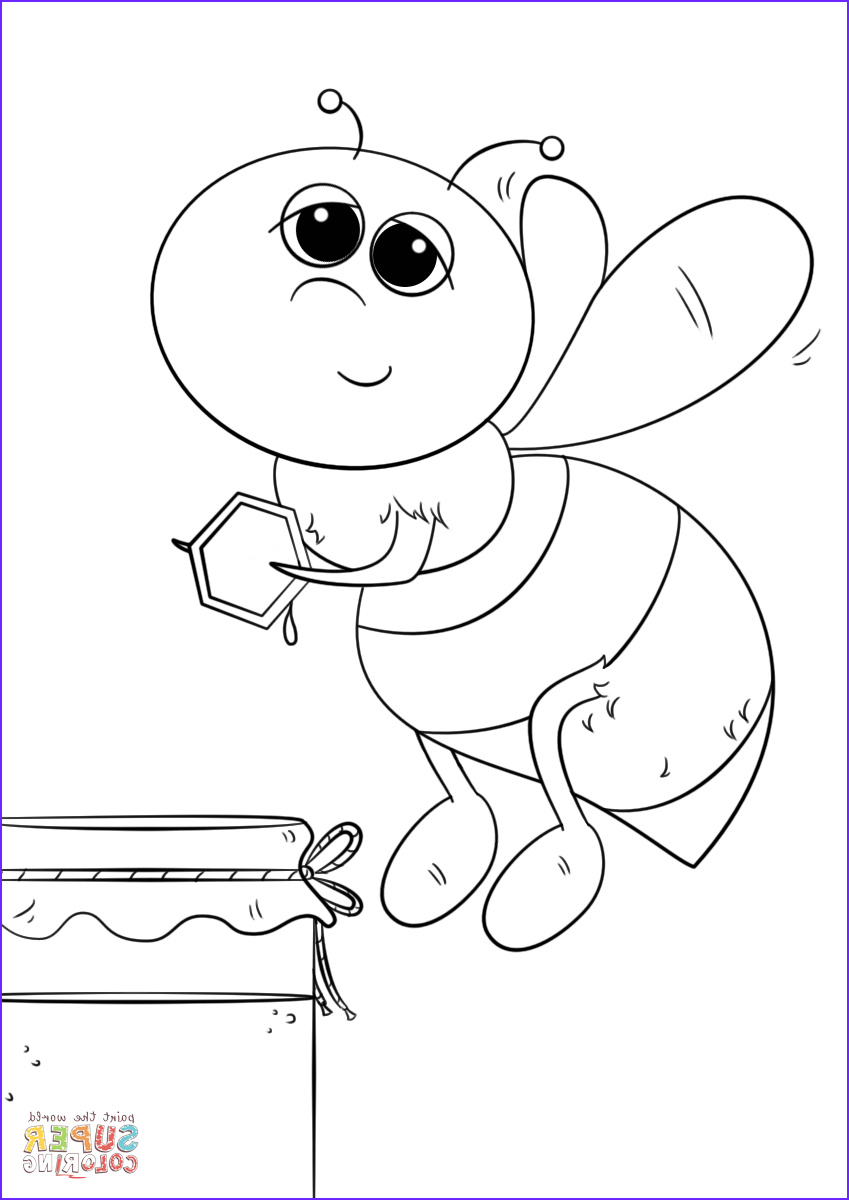 Bees Coloring Pages Luxury Gallery Cartoon Honey Bee Coloring Page