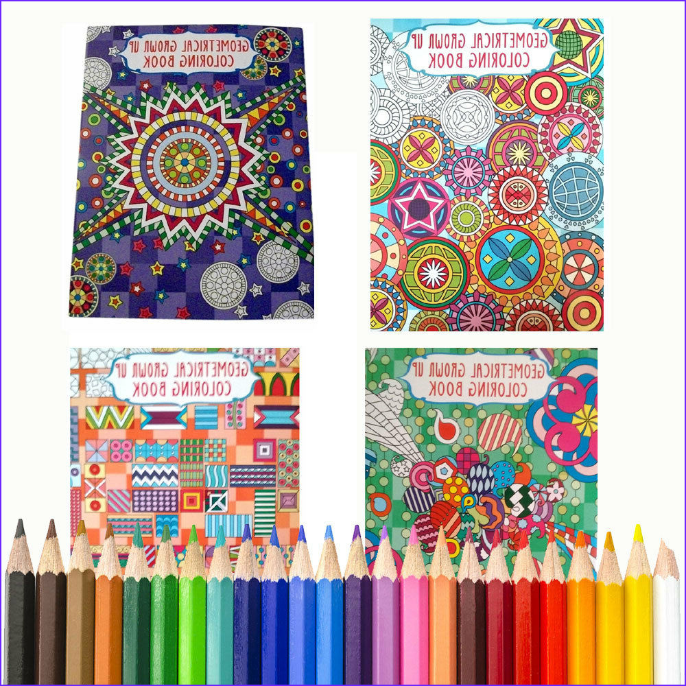Best Pencils for Adult Coloring Books Cool Stock 4 Coloring Books Bonus Colored Pencils Geometrical