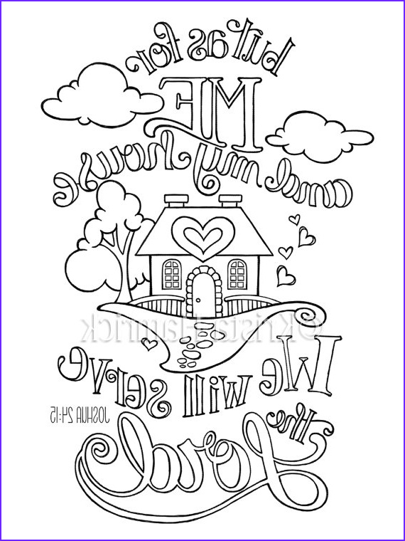 Bible Verses Coloring Book Beautiful Collection as for Me and My House Coloring Page In Two Sizes 8 5x11
