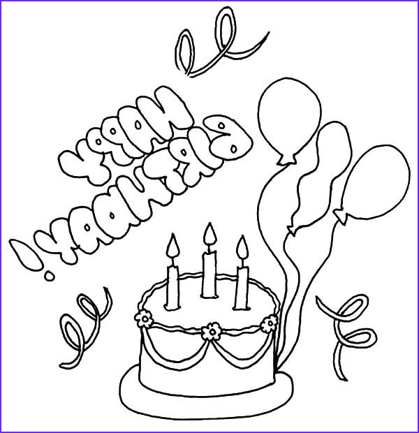 Birthday Balloons Coloring Pages Beautiful Image Delicious Birthday Cake with Balloons Coloring Pages