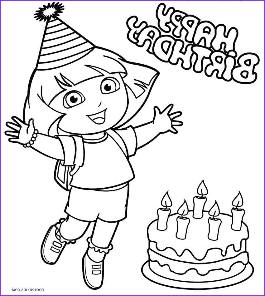 Birthday Coloring Page Inspirational Photos Free Printable Dora Coloring Pages for Kids