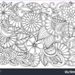 Black And White Coloring Pages For Adults Cool Images Doodle Floral Pattern Black White Page Stock Vector