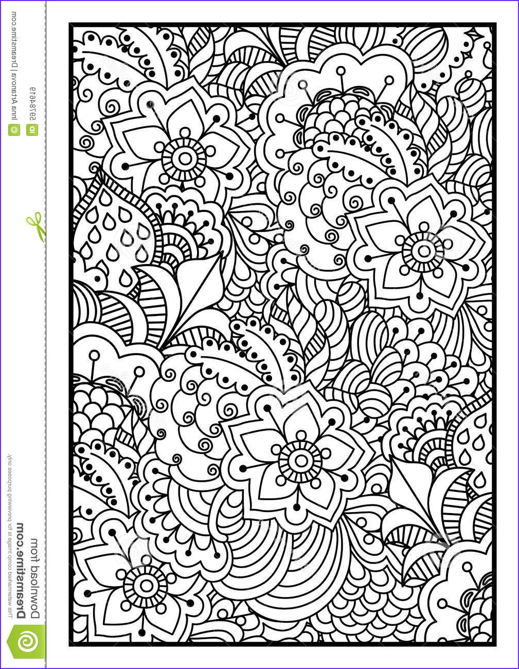 stock illustration black white background coloring book floral ethnic hand drawn elements design good adults design wrapping image