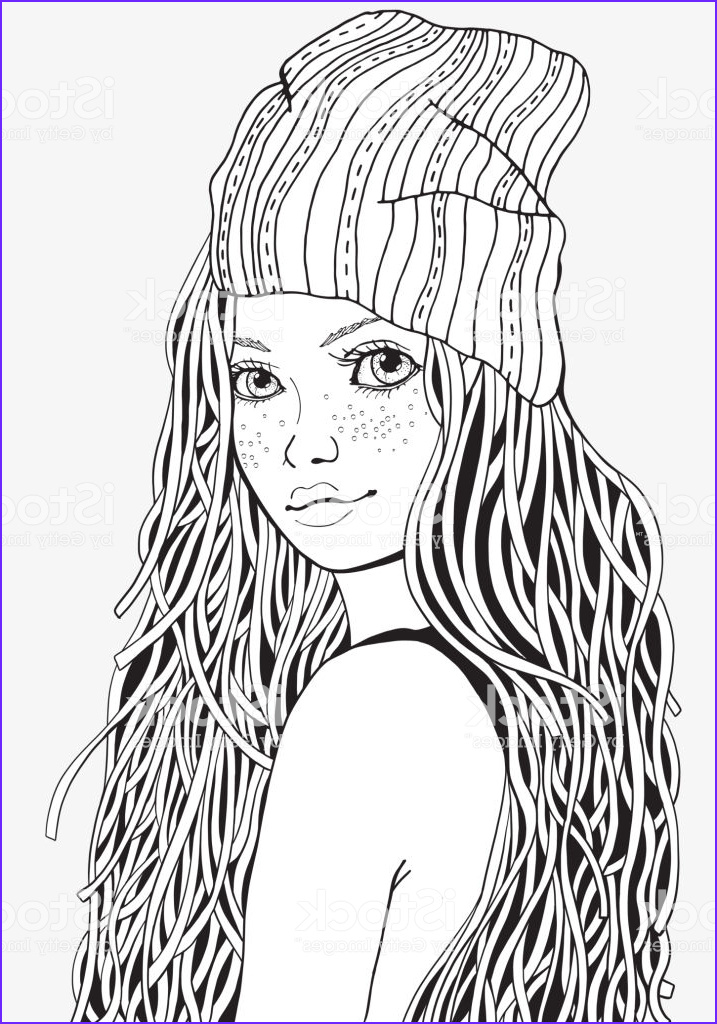 cute girl coloring book page for adult a4 size black and white doodle style gm