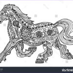 Black And White Coloring Pages For Adults Inspirational Photos Black White Horse Print Ethnic Zentangle Stock Vector
