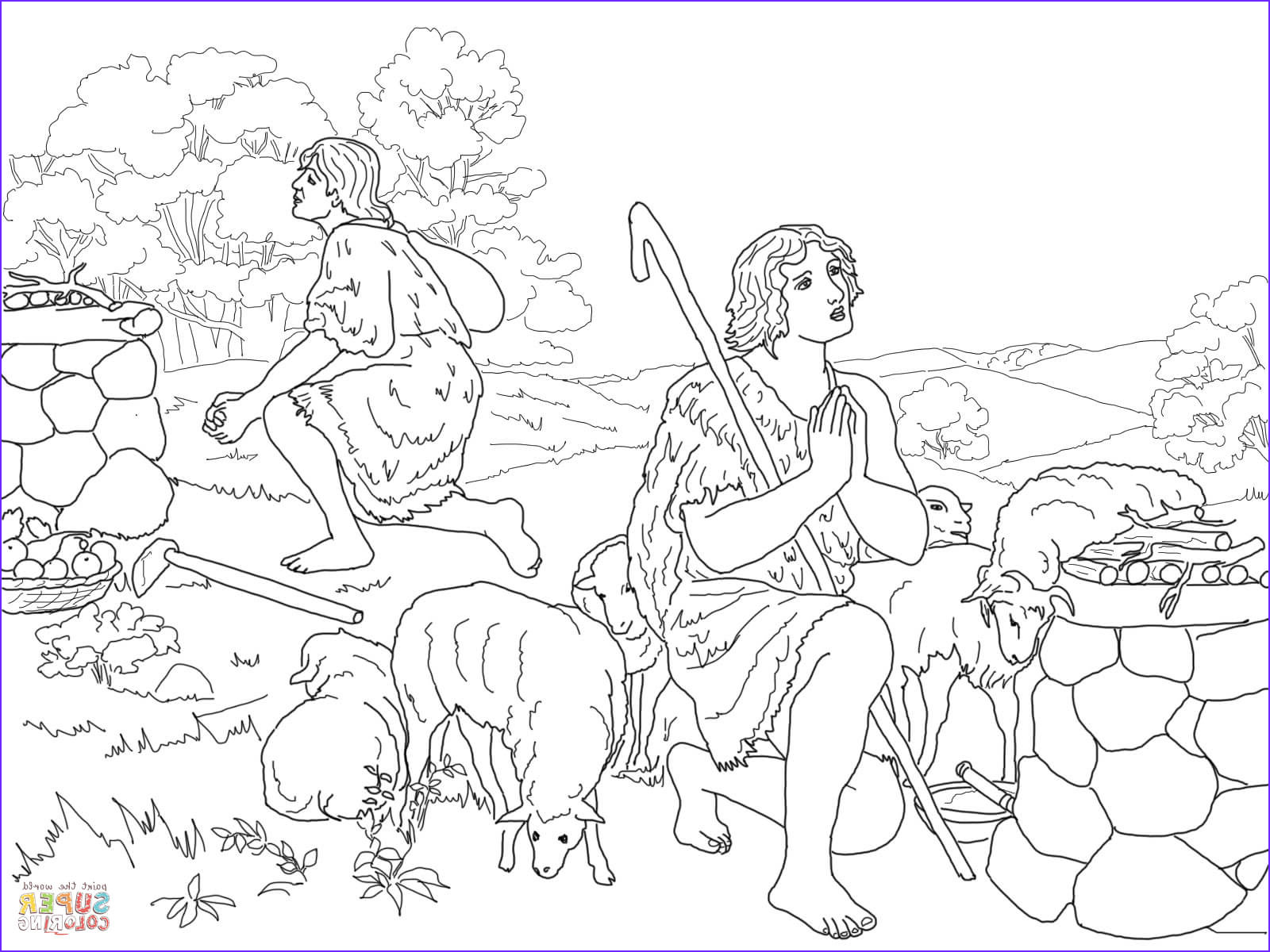 cain and abel coloring worksheet sketch templates