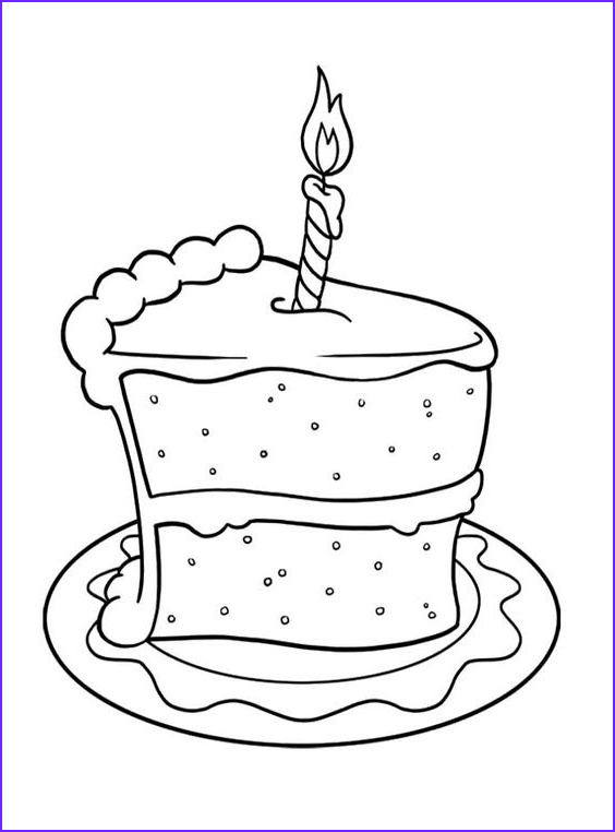 Cake Coloring Pages Awesome Photography Slice Cake Birthday Coloring Pages