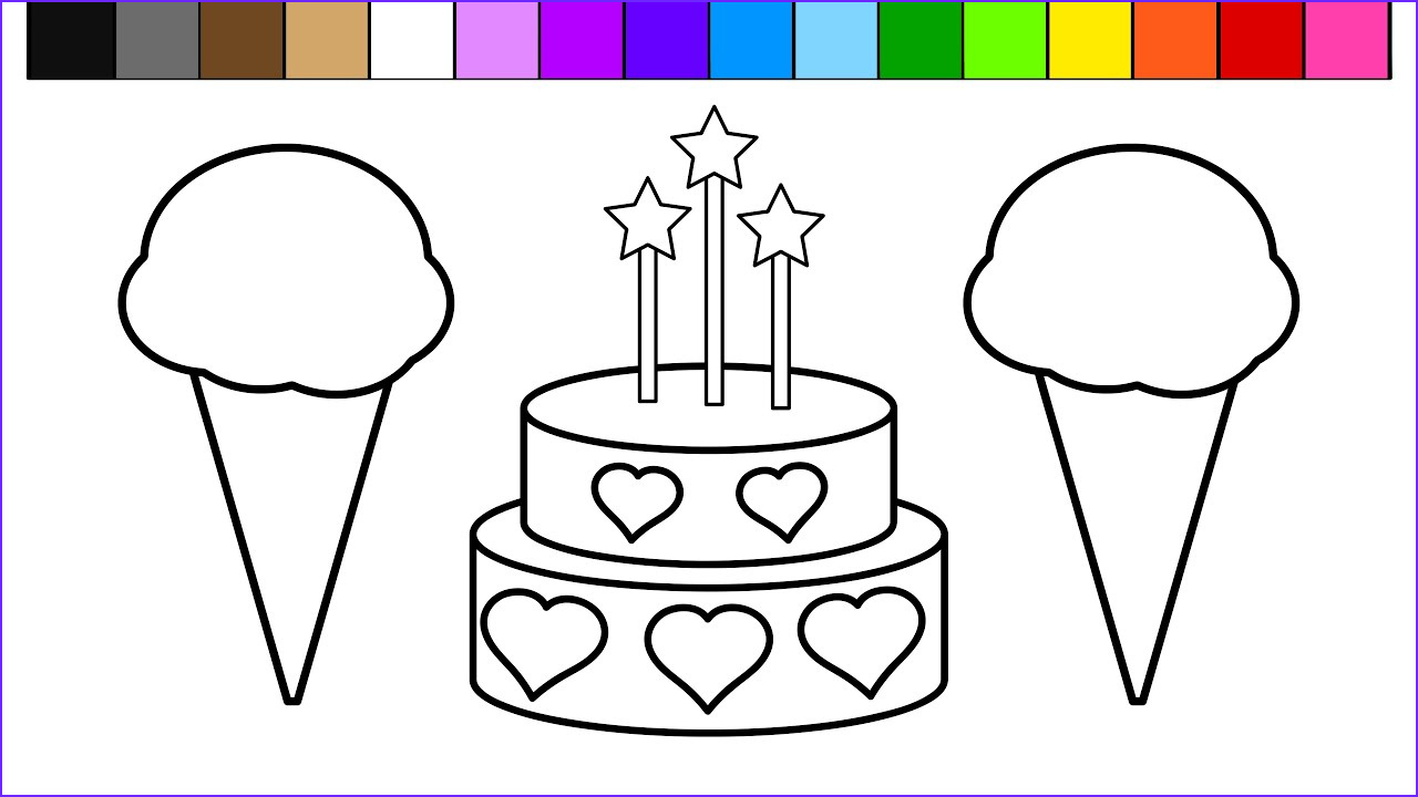 Cake Coloring Pages Unique Photos Color Ice Cream Heart Birthday Cake Coloring Pages for