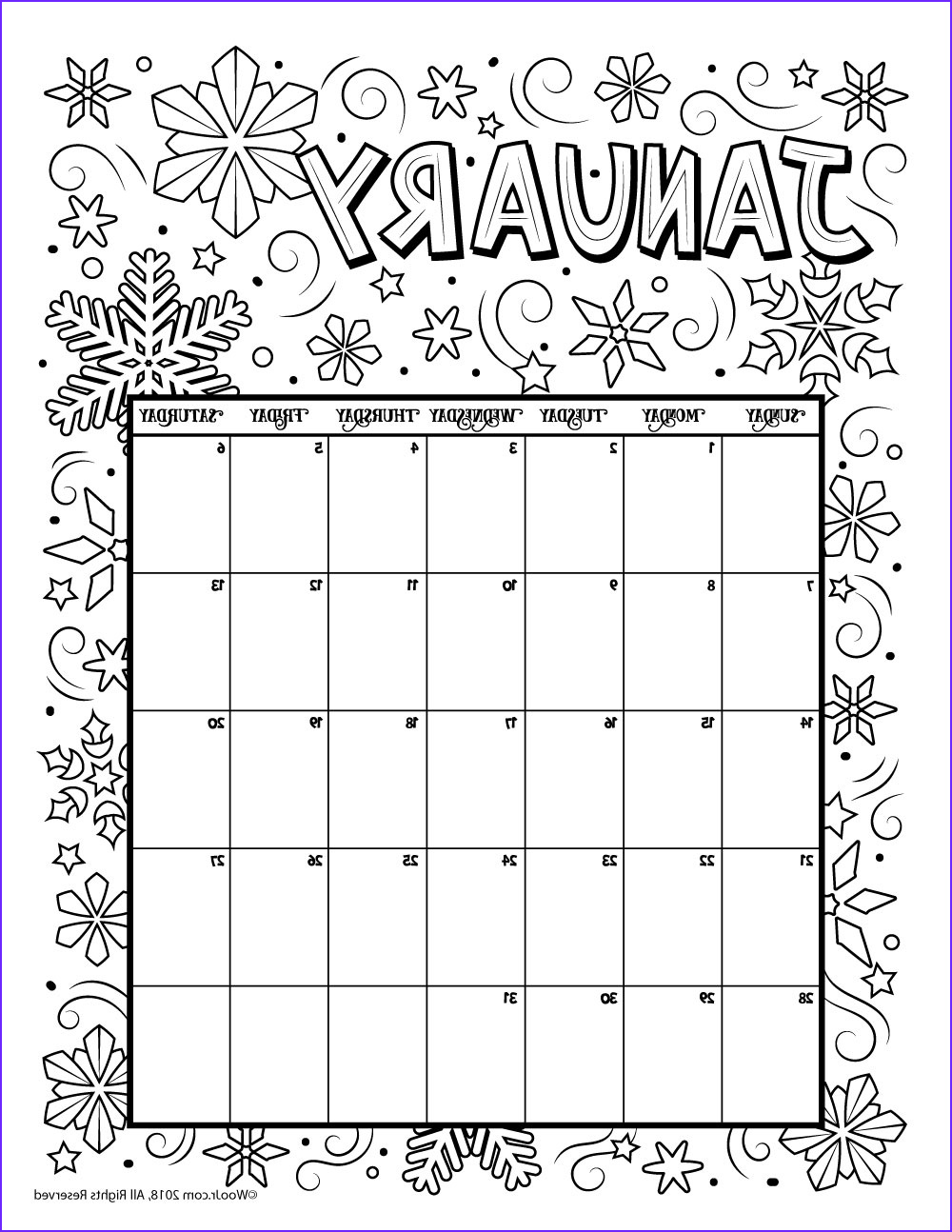 Calendar Coloring Luxury Image January 2018 Coloring Calendar Page