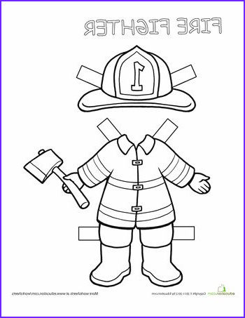 Career Coloring Pages Awesome Images Firefighter Paper Doll