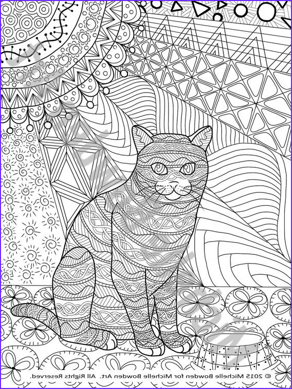 coloring page printable tabby cat