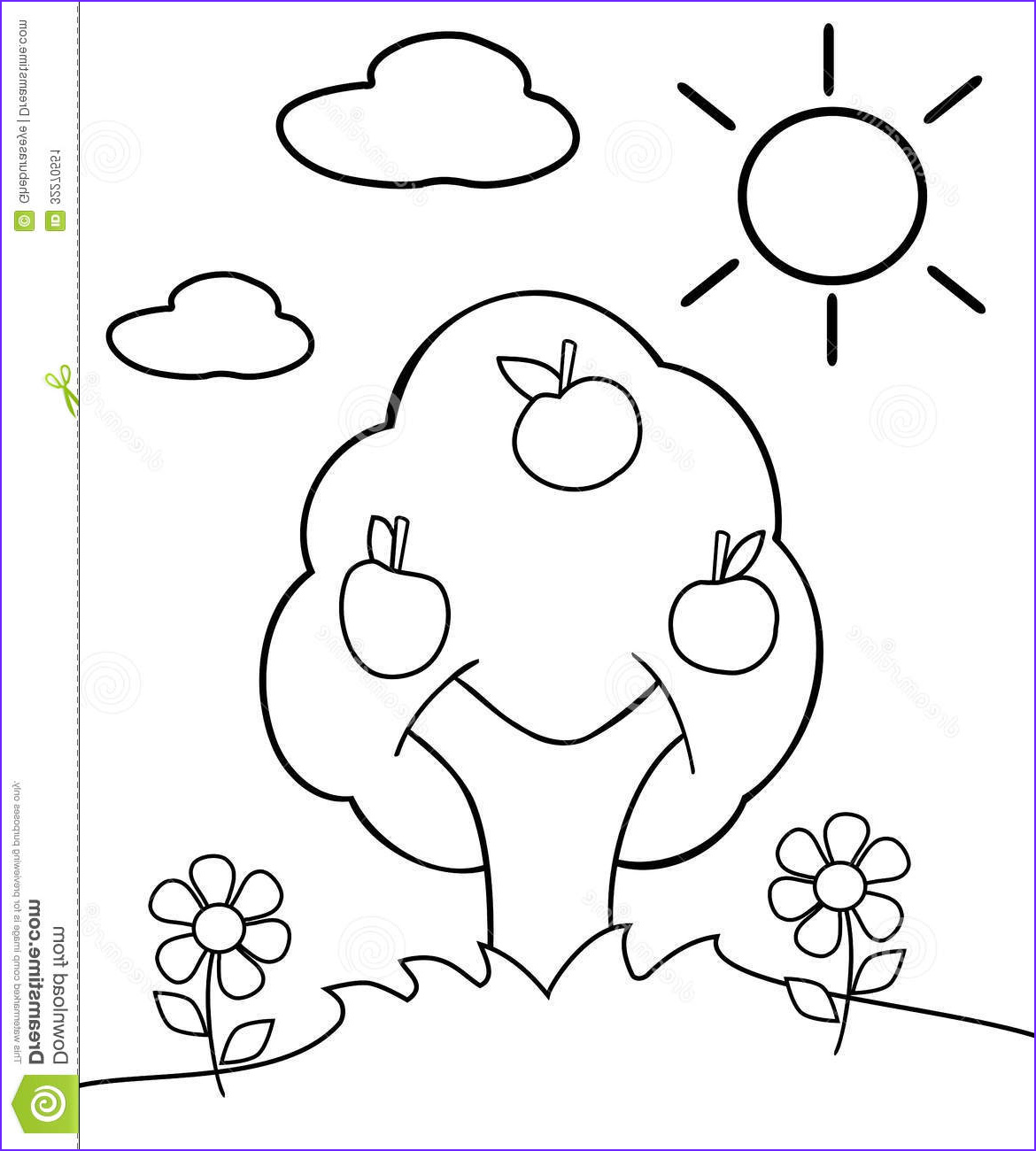 stock image coloring tree image representing meadow cartoon version project thought to be colored children image