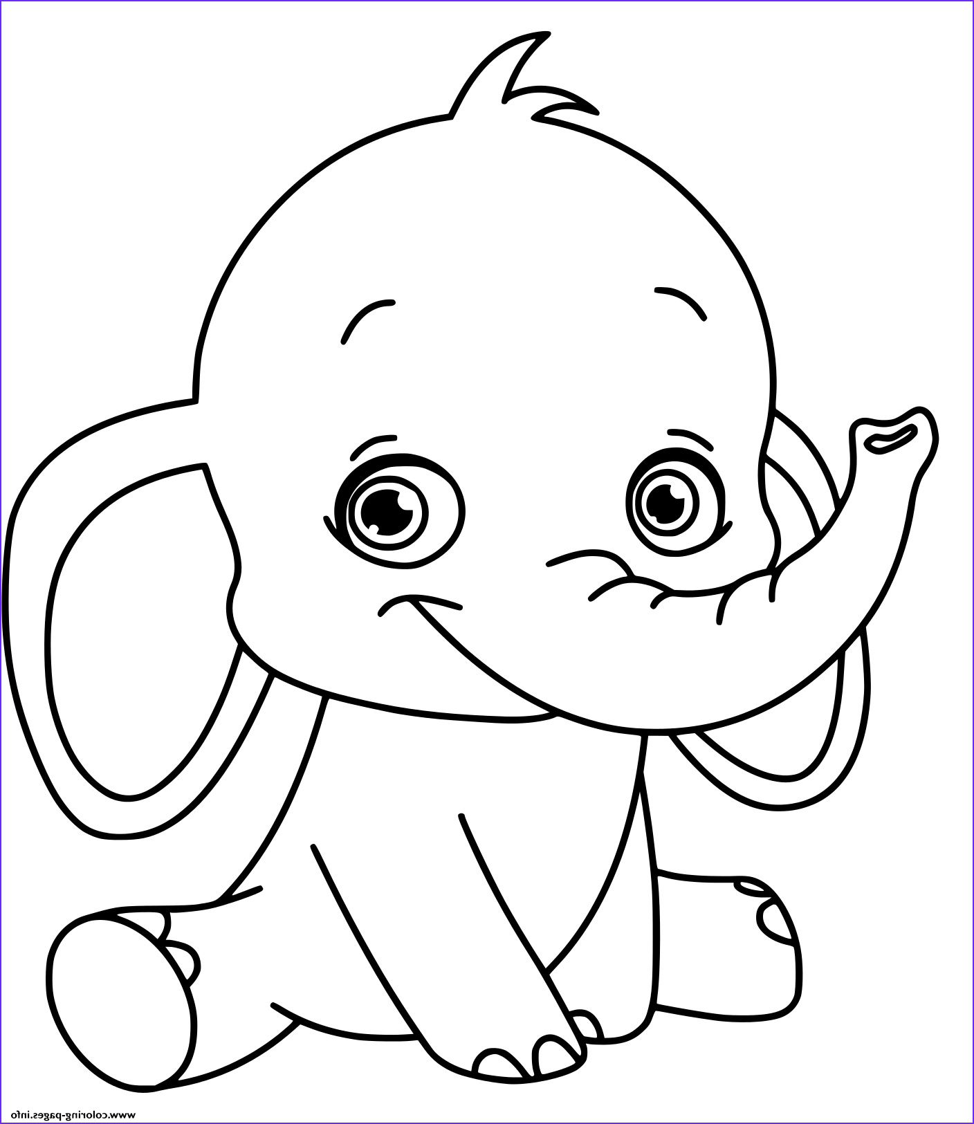 baby elephant kids printable coloring pages book