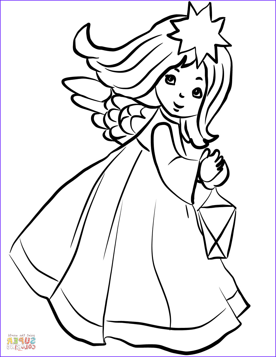 Christmas Angel Coloring Pages Elegant Images Christmas Angel with Lantern Coloring Page