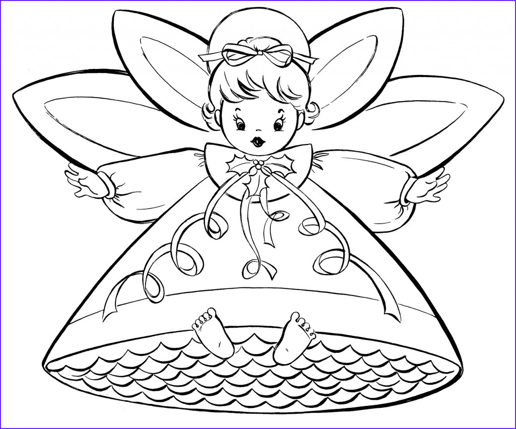 free christmas coloring pages retro angels