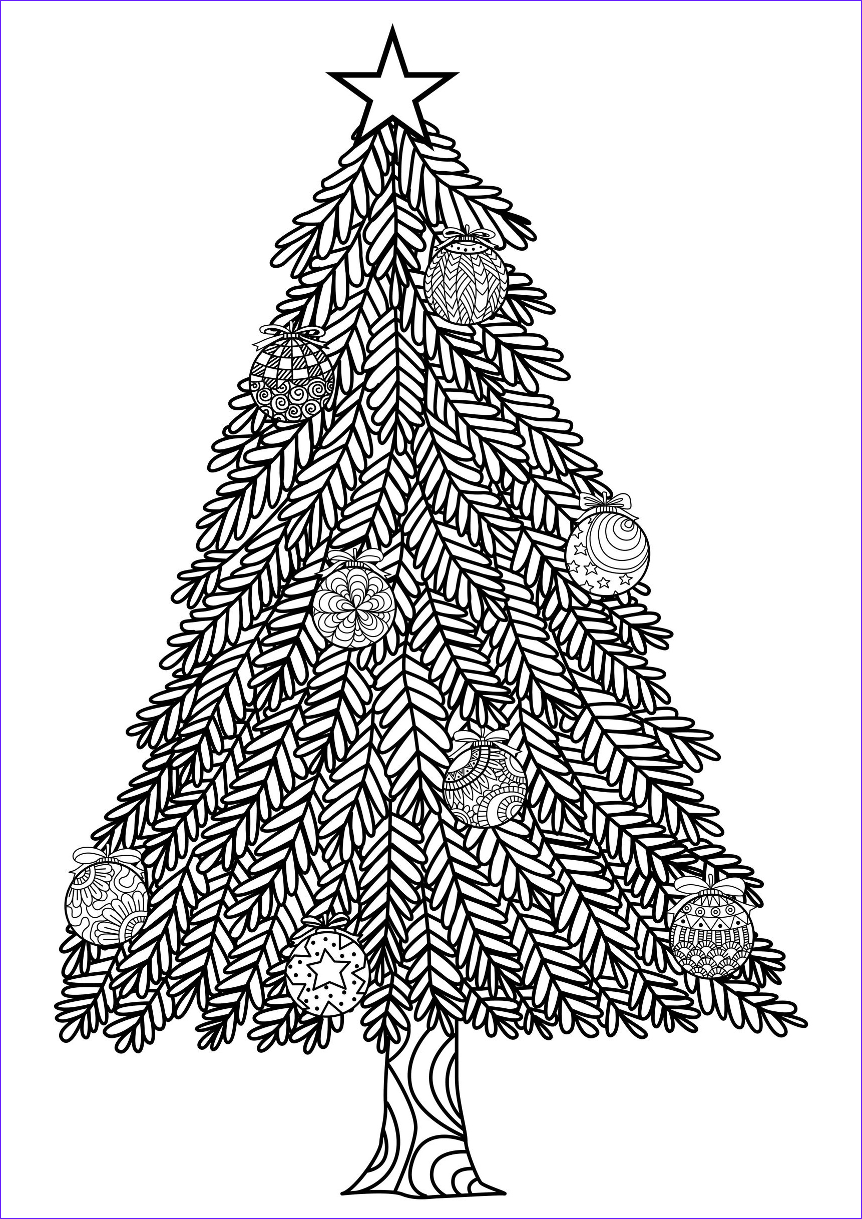 christmas adult coloring pages image=events christmas coloring adult christmas tree with ball ornaments by bimdeedee 1