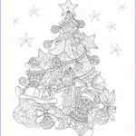 Christmas Tree Coloring Pages For Adults New Photography Hand Drawn Christmas Tree Decorations For Adult Coloring