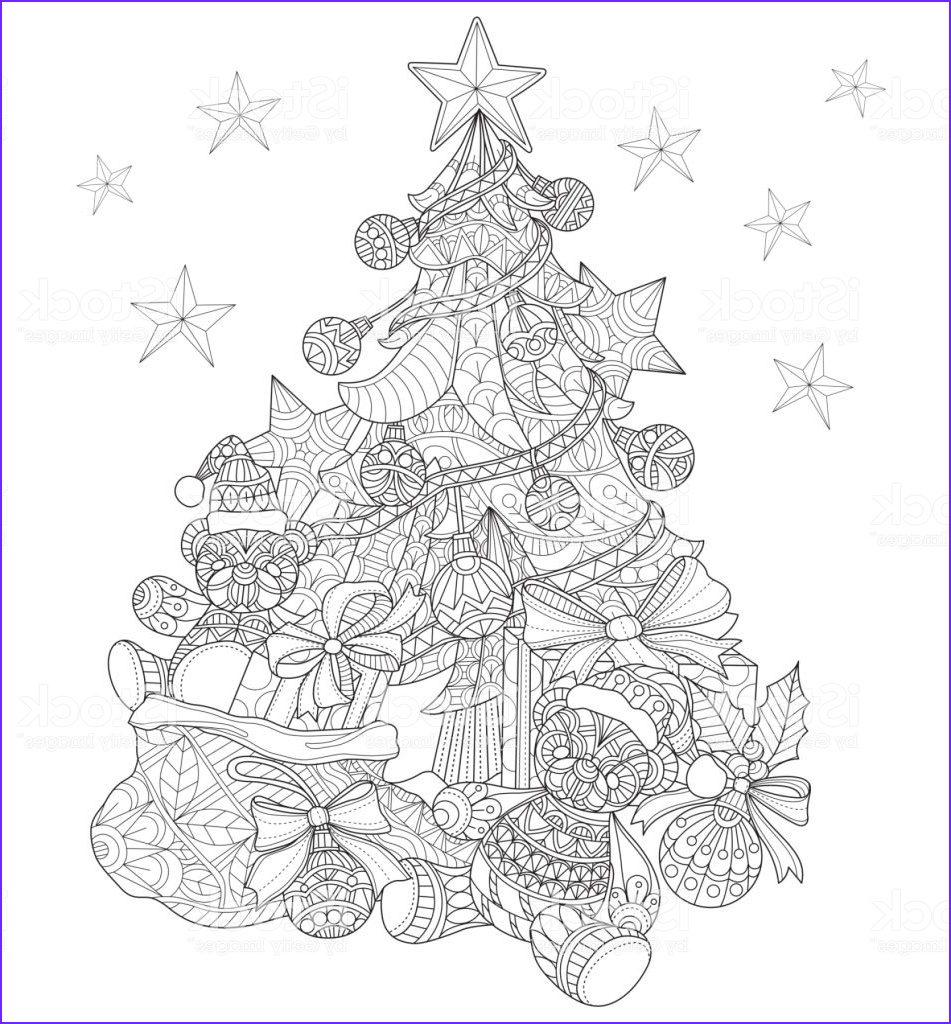 hand drawn christmas tree decorations for adult coloring page gm