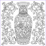 Color Therapy Coloring Pages Cool Images Ornate Vase