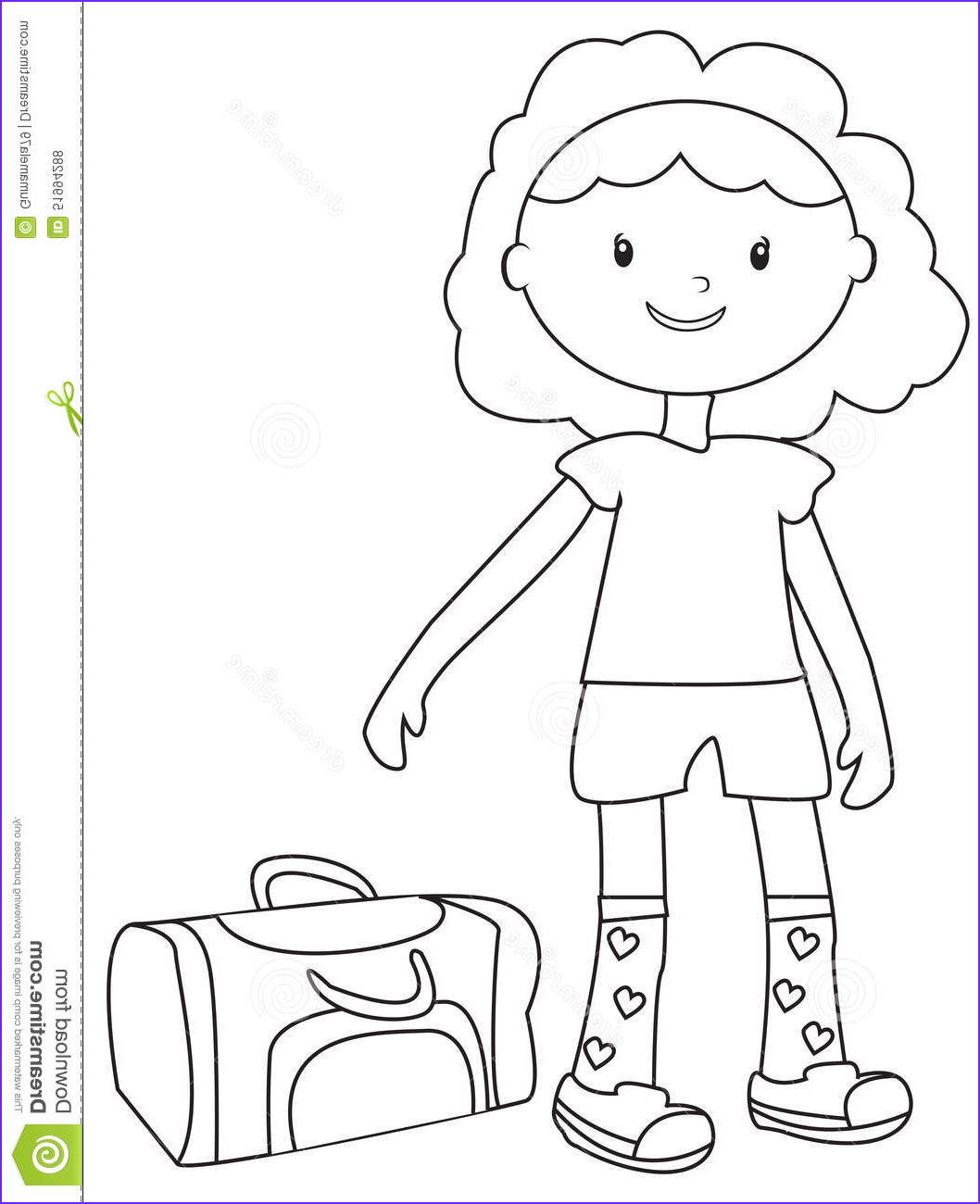 stock illustration girl duffel bag coloring page useful as book kids image