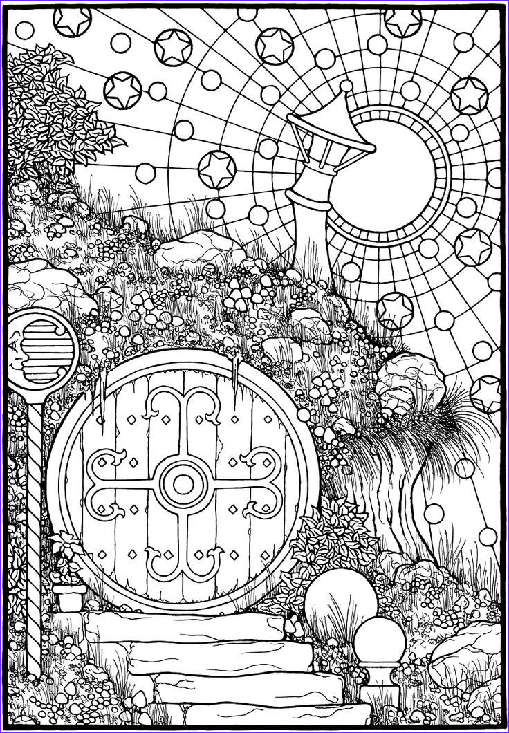 """Coloring Book Drawings Awesome Image """"hobbit Door """" From The Coloring Book Equinox"""