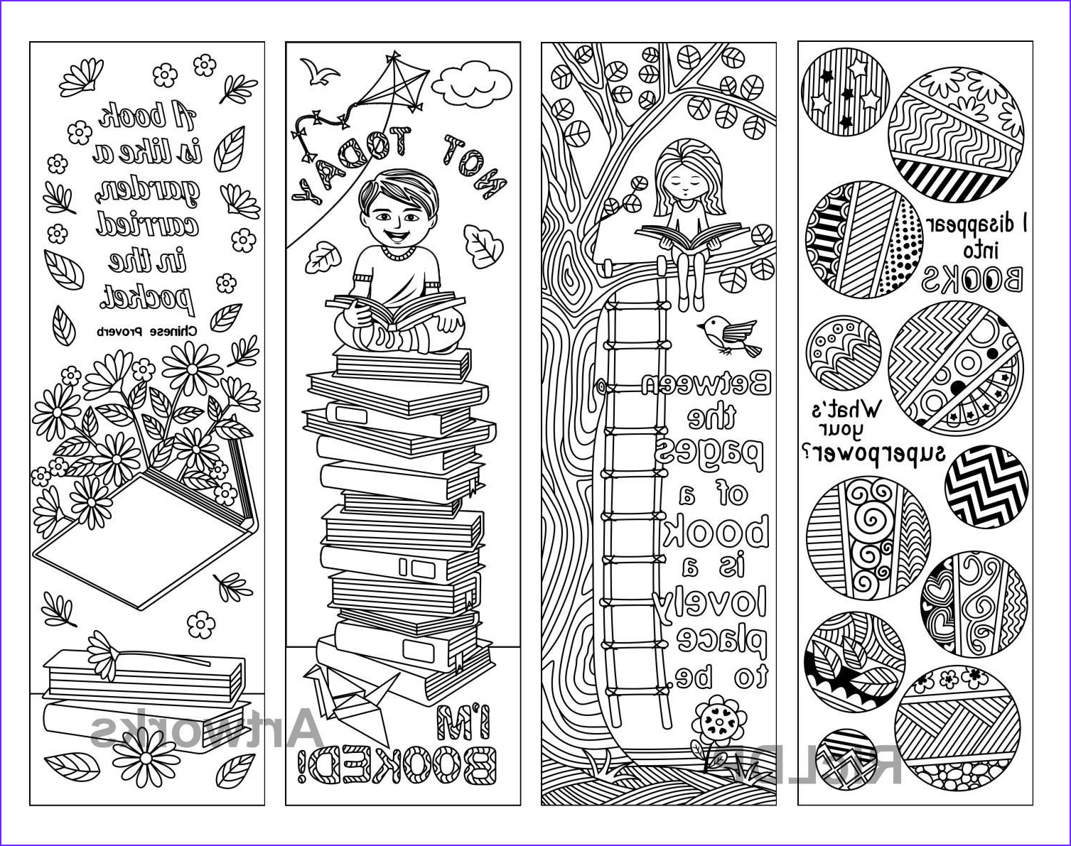 Coloring Book Markers Inspirational Images Set Of 8 Coloring Bookmarks with Quotes About Books and