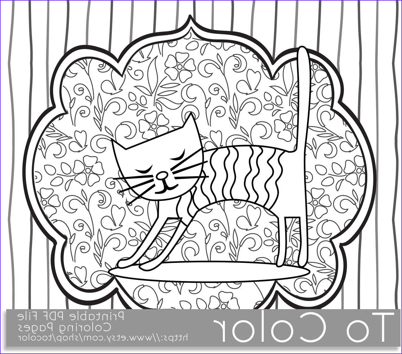 Coloring Book Pdf Elegant Gallery Printable Whimsical Cat Coloring Page for Adults Pdf by