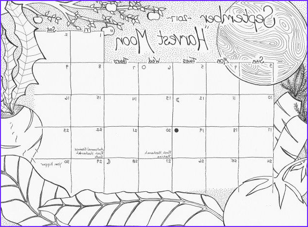 Coloring Calendar 2017 Cool Images September 2017 Free Calendar Coloring Page