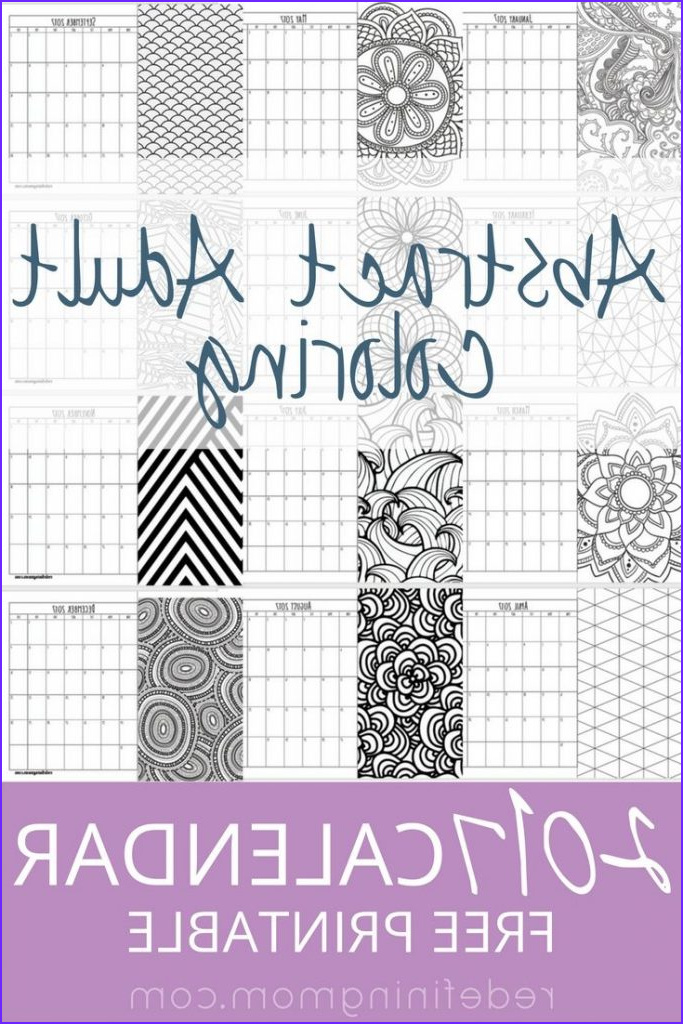 adult abstract coloring 2017 calendar