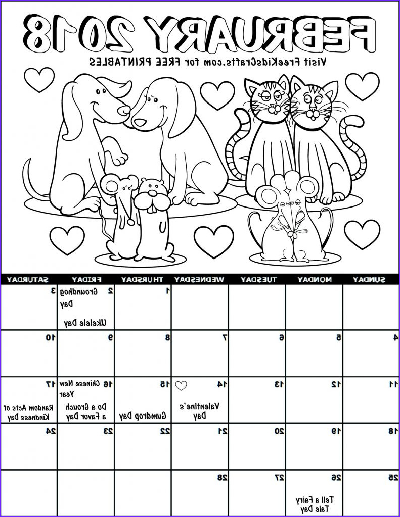 Coloring Calendar Beautiful Image 2018 Printable February Coloring Calendar for Kids