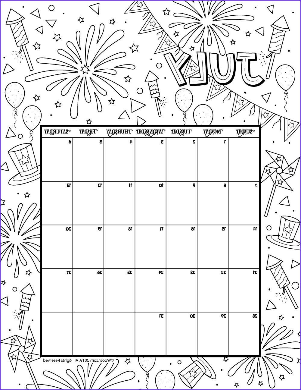 Coloring Calendar Beautiful Image July 2019 Coloring Calendar Hafsaa Pins