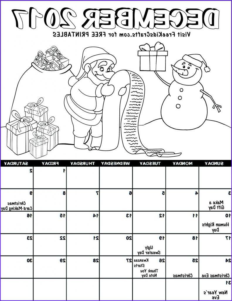 Coloring Calendar New Stock Kids 2017 Printable December Coloring Calendar