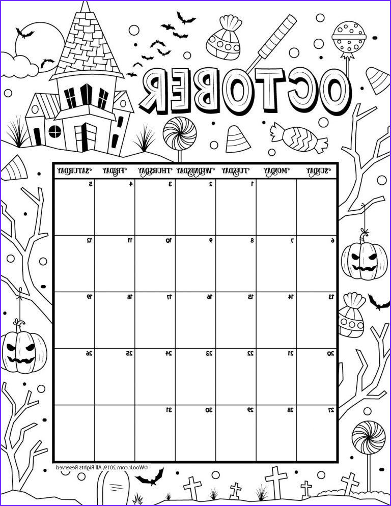 Coloring Calendar Unique Photography October 2019 Coloring Calendar