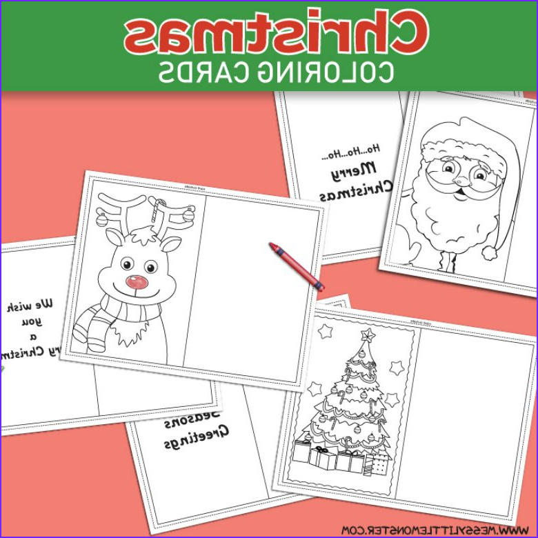 Coloring Christmas Cards New Photos Christmas Coloring Cards Messy Little Monster