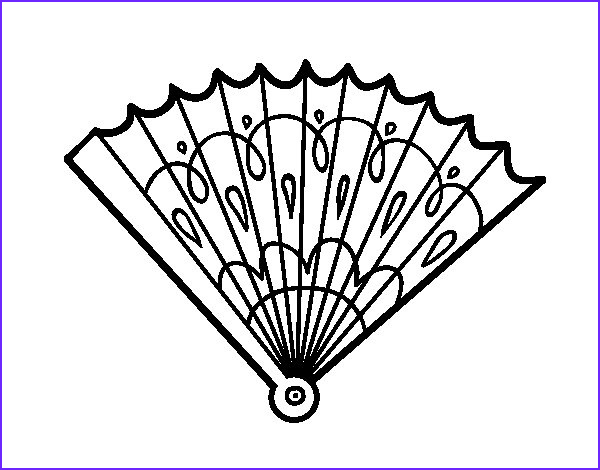 Coloring Fans Beautiful Photos Stamped Hand Fan Coloring Page Coloringcrew