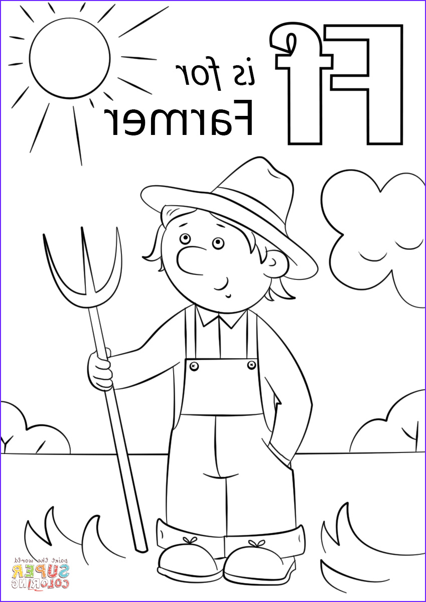 Coloring Farms Cool Stock Letter F is for Farmer Coloring Page