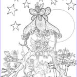 Coloring For Adults New Stock Fairies In A Tree House Coloring Page