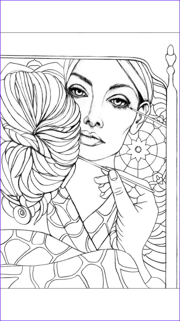 coloring pages portraits for grown ups