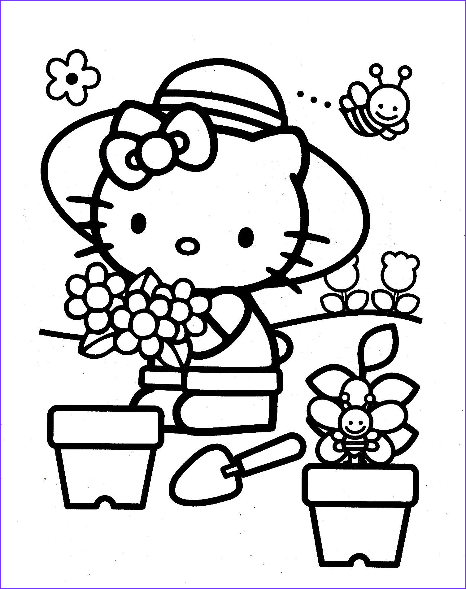 hello kitty colouring pages