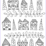 Coloring House Cool Gallery Adult Zen Anti Stress Simple Houses Coloring Pages Printable
