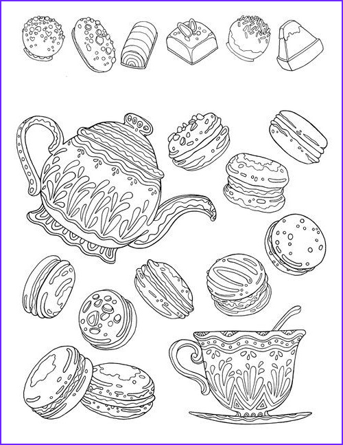 Coloring Macarons New Images Free Printable Coloring Page for Adults Hand Drawn Tea