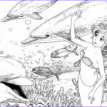 Coloring Mermaid Cool Collection The Ocean And The Mermaids Coloring Page Stock I