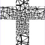 Coloring Page Cross Awesome Image Stained Glass Abstract Cross Coloring Page