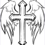Coloring Page Cross Luxury Images Cross With Wings Coloring Page
