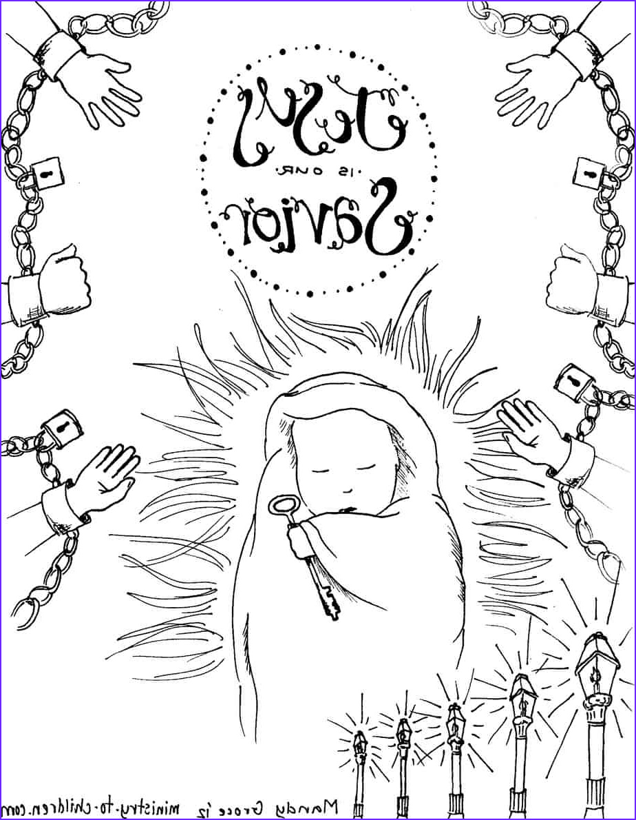 baby jesus is the savior coloring page