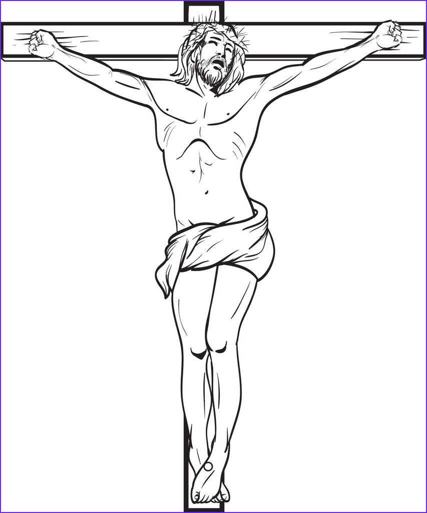 Coloring Page Of Jesus New Photography Jesus Crucified the Cross Free Printable Coloring Page