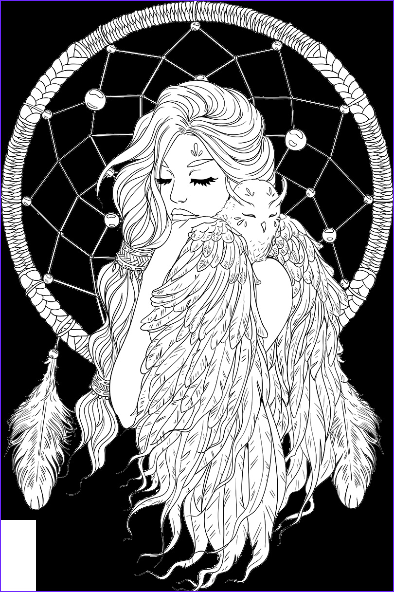Coloring Pages Adult Unique Collection Lineartsy Free Adult Coloring Page Dreamcatcher Lined